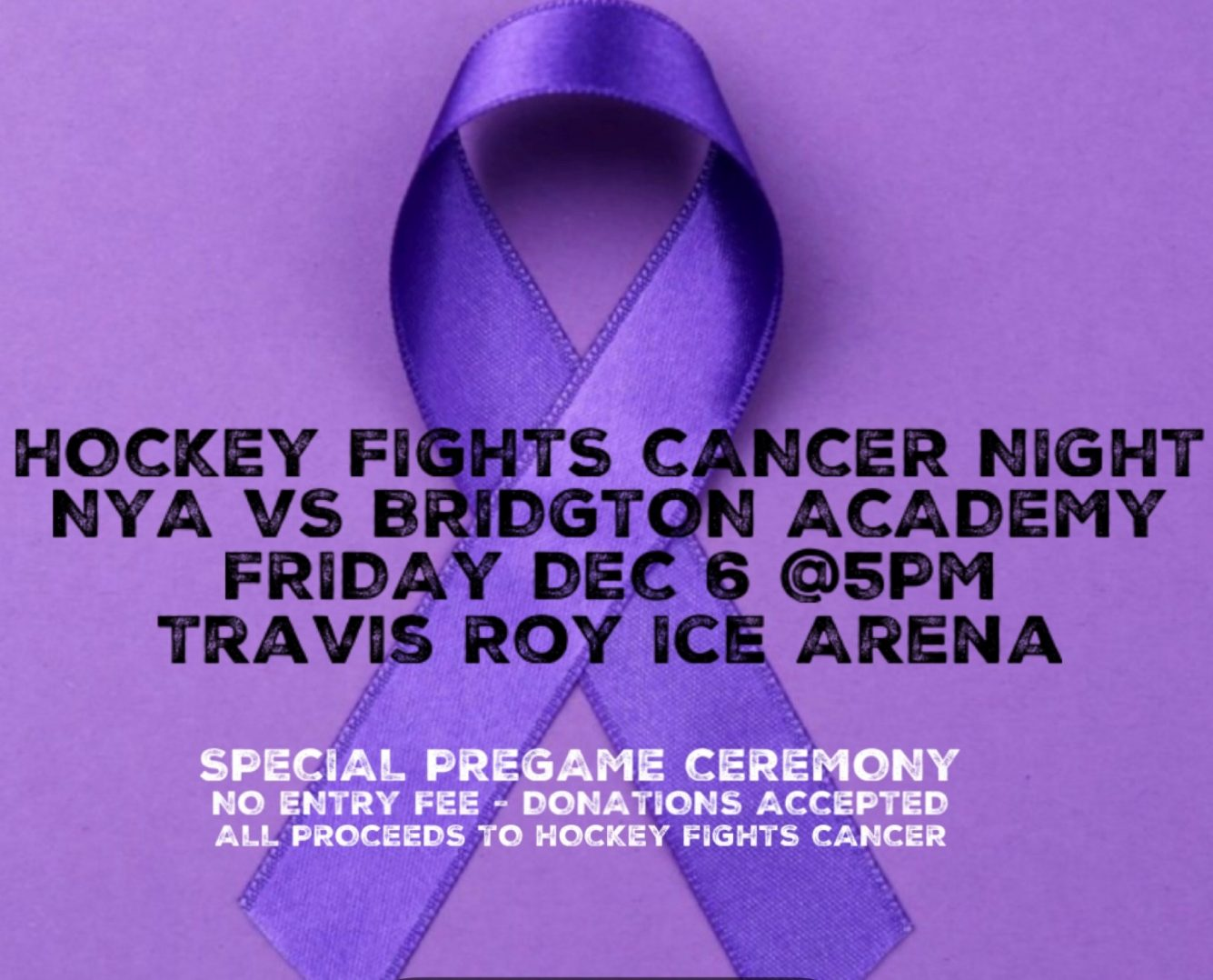 Cancer Awareness Hockey Game graphic 2019