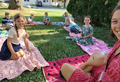 Kindergarten class on the lawn fall 2020